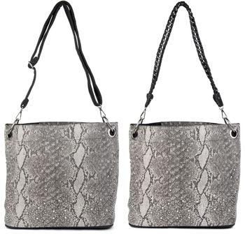 styleBREAKER Handtaschen Set in Schlangenleder Optik mit Strass Applikation im Sternenhimmel Design, 2 Taschen 02012013 – Bild 3