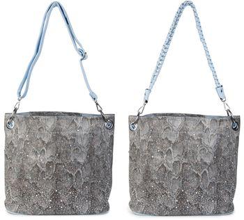 styleBREAKER Handtaschen Set in Schlangenleder Optik mit Strass Applikation im Sternenhimmel Design, 2 Taschen 02012013 – Bild 19