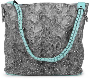 styleBREAKER Handtaschen Set in Schlangenleder Optik mit Strass Applikation im Sternenhimmel Design, 2 Taschen 02012013 – Bild 35