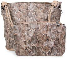 styleBREAKER Handtaschen Set in Schlangenleder Optik mit Strass Applikation im Sternenhimmel Design, 2 Taschen 02012013 – Bild 7