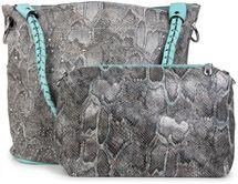 styleBREAKER Handtaschen Set in Schlangenleder Optik mit Strass Applikation im Sternenhimmel Design, 2 Taschen 02012013 – Bild 36