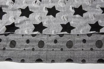 styleBREAKER Loop Schal mit Sterne und Punkte Muster, Vintage Look, Wendeschal, Schlauchschal, Unisex 01018080 – Bild 5