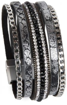 styleBREAKER soft bracelet with rhinestones, vintage print and necklace, magnetic clasp, women 05040020 – Bild 4