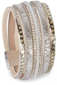 styleBREAKER weiches Armband mit Strasssteinen, Vintage Print und Kette, Magnetverschluss, Damen 05040020 – Bild 2