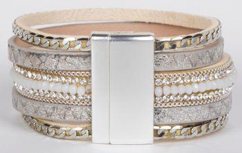 styleBREAKER weiches Armband mit Strasssteinen, Vintage Print und Kette, Magnetverschluss, Damen 05040020 – Bild 6