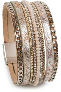 styleBREAKER weiches Armband mit Strasssteinen, Vintage Print und Kette, Magnetverschluss, Damen 05040020 – Bild 1