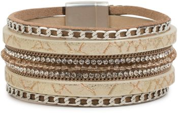 styleBREAKER soft bracelet with rhinestones, vintage print and necklace, magnetic clasp, women 05040020 – Bild 11
