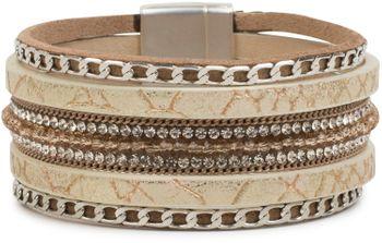 styleBREAKER weiches Armband mit Strasssteinen, Vintage Print und Kette, Magnetverschluss, Damen 05040020 – Bild 11