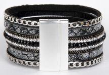 styleBREAKER weiches Armband mit Strasssteinen, Vintage Print und Kette, Magnetverschluss, Damen 05040020 – Bild 7