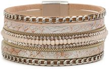 styleBREAKER soft bracelet with rhinestones, vintage print and necklace, magnetic clasp, women 05040020 – Bild 9