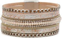 styleBREAKER weiches Armband mit Strasssteinen, Vintage Print und Kette, Magnetverschluss, Damen 05040020 – Bild 9