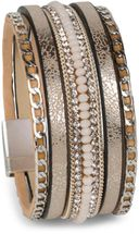 styleBREAKER weiches Armband mit Strasssteinen, Vintage Print und Kette, Magnetverschluss, Damen 05040020 – Bild 13