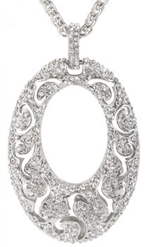 styleBREAKER necklace with oval solid pendant, ornaments and rhinestones, braid, women 05030005 – Bild 3