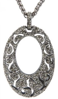 styleBREAKER necklace with oval solid pendant, ornaments and rhinestones, braid, women 05030005 – Bild 1