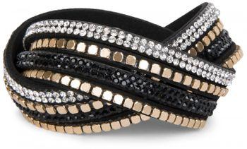 styleBREAKER weiches Wickelarmband mit Strass und glänzenden Nieten, Armband, 4x1-Reihig, Damen Schmuck 05040022 – Bild 1