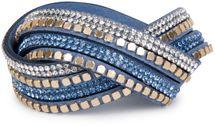styleBREAKER weiches Wickelarmband mit Strass und glänzenden Nieten, Armband, 4x1-Reihig, Damen Schmuck 05040022 – Bild 2