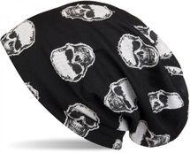 styleBREAKER Beanie Mütze mit aufgesetztem Totenkopf Muster, Unisex 04024047 – Bild 1