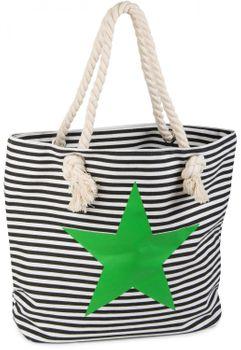 styleBREAKER Strandtasche in Streifen Optik mit Stern, Schultertasche, Shopper, Damen 02012037 – Bild 4
