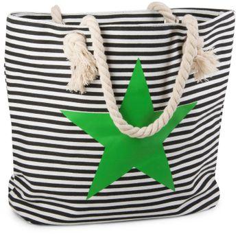 styleBREAKER Strandtasche in Streifen Optik mit Stern, Schultertasche, Shopper, Damen 02012037 – Bild 3
