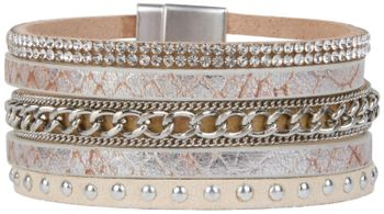 styleBREAKER vintage style bracelet with rhinestone and rivets, snake print and chain, magnetic closure, ladies 05040023 – Bild 3