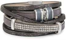 styleBREAKER vintage style wrap bracelet with rhinestone, plain coil chain and magnetic closure, 3 rows, bracelet, ladies 05040024 – Bild 10