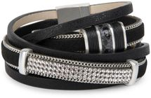 styleBREAKER vintage style wrap bracelet with rhinestone, plain coil chain and magnetic closure, 3 rows, bracelet, ladies 05040024 – Bild 1
