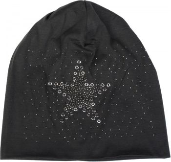 styleBREAKER slouch beanie with star rivets and rhinestone applications, punched rivets, unisex 04024049  – Bild 12