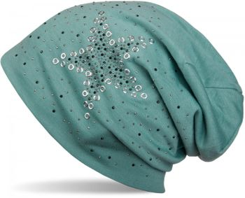 styleBREAKER slouch beanie with star rivets and rhinestone applications, punched rivets, unisex 04024049  – Bild 3