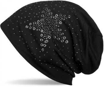 styleBREAKER slouch beanie with star rivets and rhinestone applications, punched rivets, unisex 04024049  – Bild 2