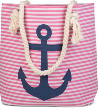 styleBREAKER striped look beach bag with anchor, sling bag, shopper, ladies 02012038 – Bild 7