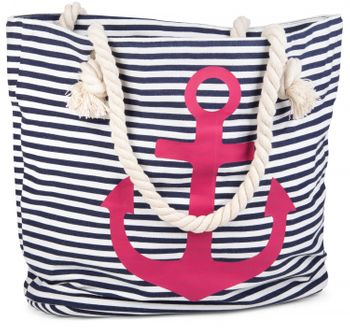 styleBREAKER striped look beach bag with anchor, sling bag, shopper, ladies 02012038 – Bild 1