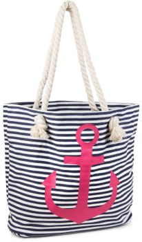 styleBREAKER striped look beach bag with anchor, sling bag, shopper, ladies 02012038 – Bild 9