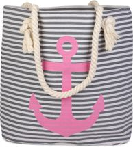 styleBREAKER striped look beach bag with anchor, sling bag, shopper, ladies 02012038 – Bild 8