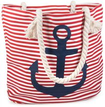 styleBREAKER striped look beach bag with anchor, sling bag, shopper, ladies 02012038 – Bild 2