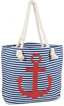 styleBREAKER striped look beach bag with anchor, sling bag, shopper, ladies 02012038 – Bild 11