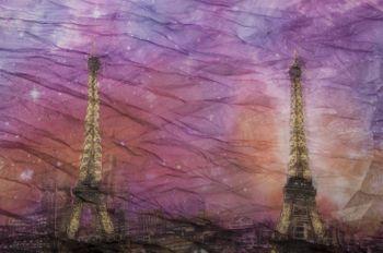 styleBREAKER Eiffelturm, Paris Design Muster Loop Schlauchschal, Crash and Crinkle, seidig leicht, Damen 01016102 – Bild 2