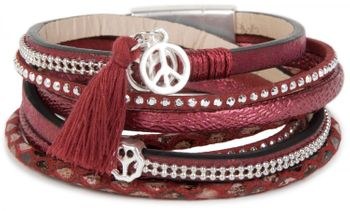 styleBREAKER wrap bracelet with rhinestone-rivets, peace pendant with tassle, leo print, 4 rows, bracelet, ladies 05040026 – Bild 1