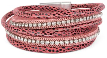 styleBREAKER wrap bracelet with edged rhinestone, leo print and chains, bracelet, ladies 05040028 – Bild 4