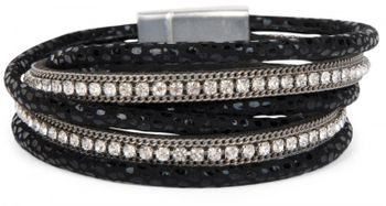 styleBREAKER wrap bracelet with edged rhinestone, leo print and chains, bracelet, ladies 05040028 – Bild 5