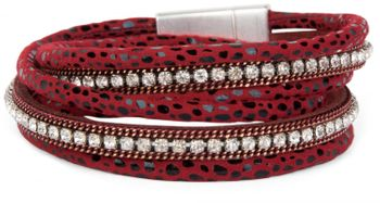 styleBREAKER wrap bracelet with edged rhinestone, leo print and chains, bracelet, ladies 05040028 – Bild 6