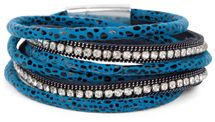 styleBREAKER wrap bracelet with edged rhinestone, leo print and chains, bracelet, ladies 05040028 – Bild 2