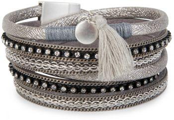 styleBREAKER Vintage Wickelarmband mit Strass, Quasten Anhänger und Ketten, 3-Reihig, Armband, Damen 05040027 – Bild 5