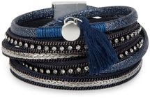 styleBREAKER Vintage Wickelarmband mit Strass, Quasten Anhänger und Ketten, 3-Reihig, Armband, Damen 05040027 – Bild 1