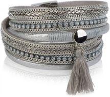 styleBREAKER Vintage Wickelarmband mit Strass, Quasten Anhänger und Ketten, 3-Reihig, Armband, Damen 05040027 – Bild 16