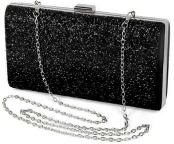 styleBREAKER hard-shell clutch, evening bag with rhinestone and plain coil chain, clasp lock, ladies 02012044 – Bild 1