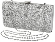 styleBREAKER hard-shell clutch, evening bag with rhinestone and plain coil chain, clasp lock, ladies 02012044 – Bild 2