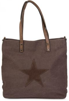 styleBREAKER canvas shopper handbag with star patch, sling bag, shoulder bag, ladies 02012048 – Bild 5