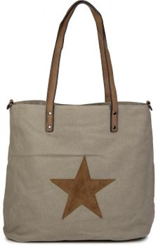 styleBREAKER canvas shopper handbag with star patch, sling bag, shoulder bag, ladies 02012048 – Bild 7