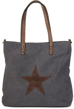 styleBREAKER canvas shopper handbag with star patch, sling bag, shoulder bag, ladies 02012048 – Bild 1