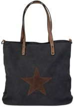 styleBREAKER canvas shopper handbag with star patch, sling bag, shoulder bag, ladies 02012048 – Bild 2